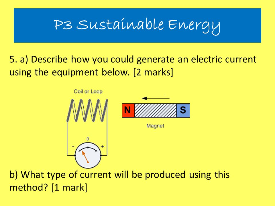 P3 Sustainable Energy 5. a) Describe how you could generate an electric current using the equipment below. [2 marks]